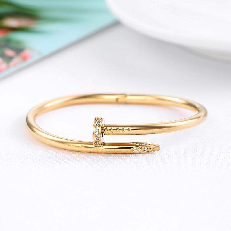 Con caja de oro plata titanio acero pulsera de uñas inlay diamante tornillo clavo pulsera brazalete mujer hombres amor joyería regalo