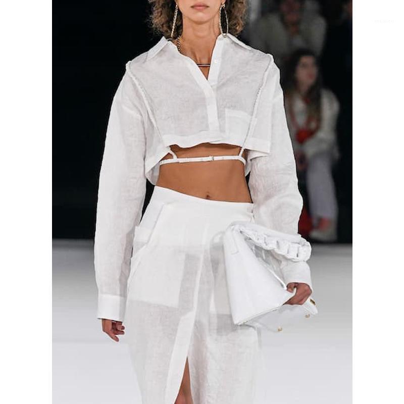 Женские блузки Рубашки 10.24 Взлетно-посадочная полоса Сексуальная повязка на талию, выявив на талии Одиночные хлопчатобумажные хлопковые короткими блузкой Женщины 2021 Мода Темперамент рубашки1