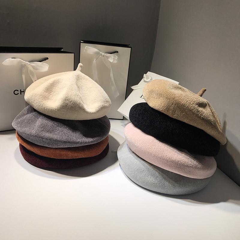 Berets beret kapelusz kobiet jesień i kapelusze zimowe dla kobiet koreański dziki retro anglia cap chenille ppainter hurtownie ns1681