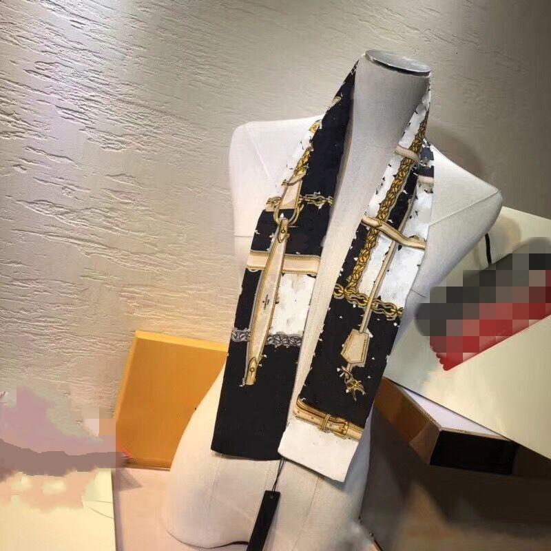 2021 boa qualidade clássico 100% lenço de seda para as mulheres nova primavera design cadeia estilo lenços longos cachecóis wrap com xales de tag