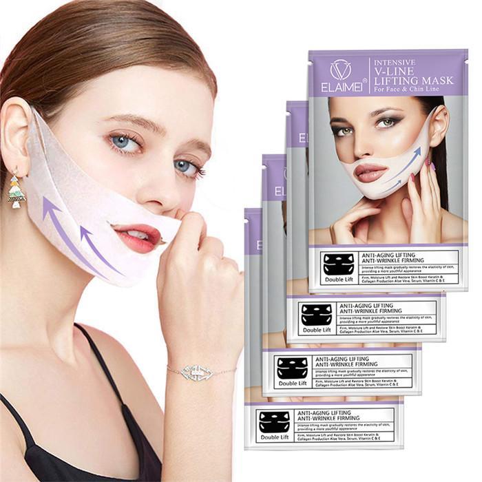 루프 Elaimei V 자형 스타일 귀 얼굴 3D V 라인 리프팅 퍼밍 얼굴 턱 뺨이 붓기의 4 개를 줄 조이 마스크 / 세트