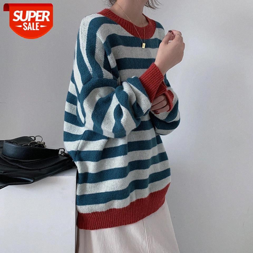 Vintage mujeres suéter linterna manga unif suéter productos de invierno jumper rayado de gran tamaño bf prendas de punto hombre pareja jersey # ai7p