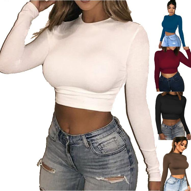2021 DISEÑADORES DE MANGULA LARGA TOLRIDA Camiseta Nueva Llegada Primavera Mujeres O-cuello Manga larga Camiseta Ropa de mujer