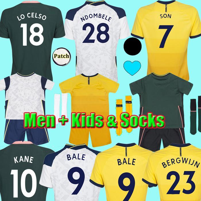 20 21 maillots de football Bale Bergwijn Kane Son Lucas Spurs Dele Ndombele Lo Celso Doherty Football Shirt Homme Homme Kids Kits Ensembles Uniformes