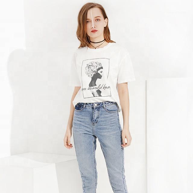 Güzel 2020 Bayan% 100% Pamuk Artı Boyutu Nedensel Pamuk Tişörtleri Özel Logo Baskı Boş Beyaz 2020 Kadın T Shirt1