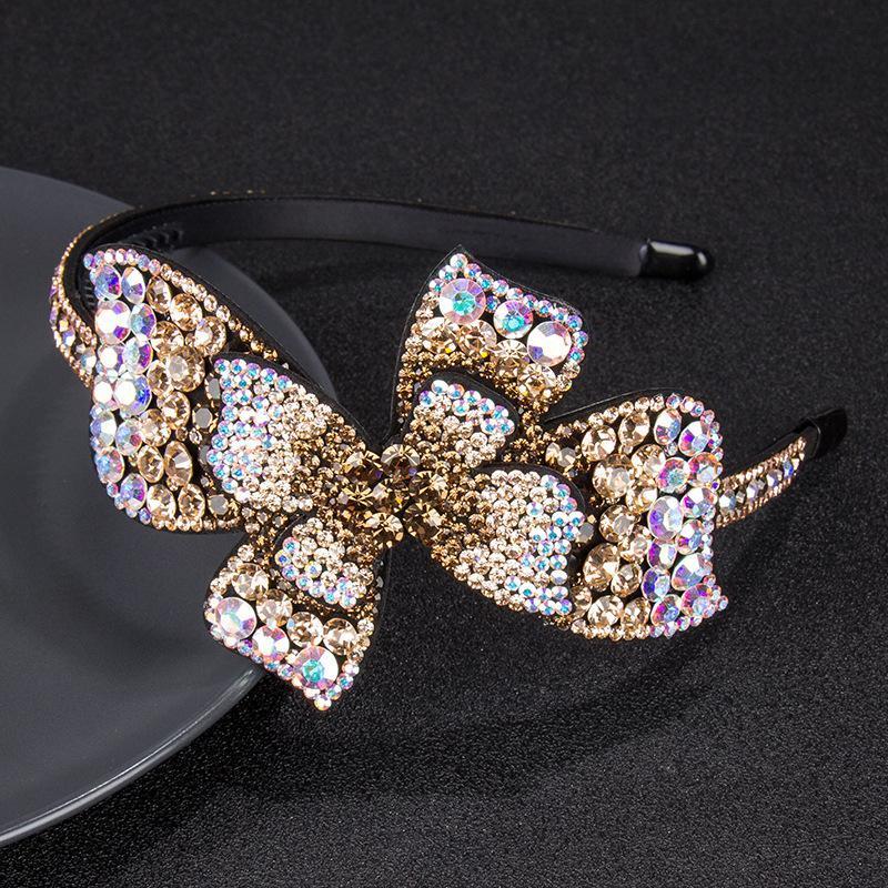 Feminino retrô Simples Multicolor Bow Hairband Luxo Checo Cristal Non-Slip Border Girl Girl Hairpin Fantasia Acessórios Headband