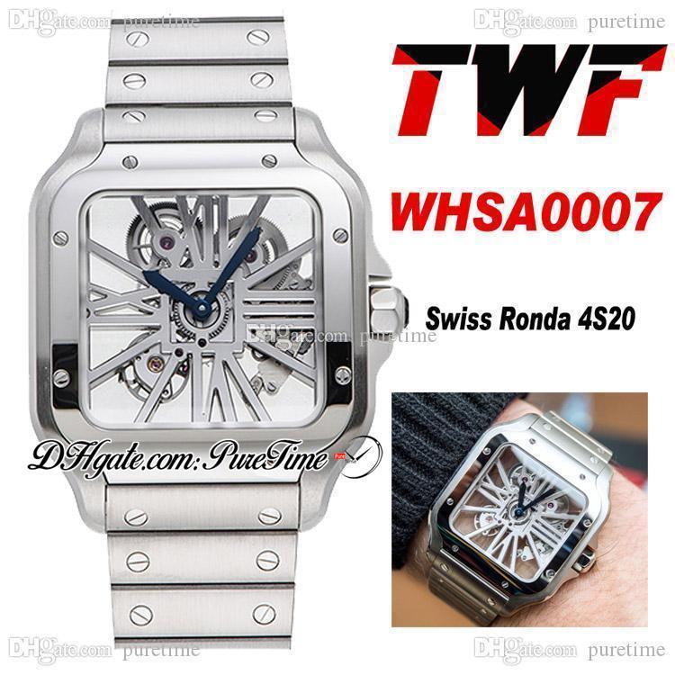 TWF Tom Holland Dumont İskelet WHSA0007 İsviçre Ronda 4S20 Kuvars Mens İzle Paslanmaz Çelik Bilezik En Iyi Baskı PTCAT Puretime A262