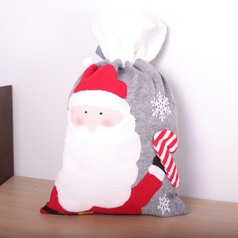 Быстрая доставка рождественские товары серого войлока Нетканые Drawstring Рождественский подарок сумка Drawstring Карман Большой Рождество конфеты мешок F9202