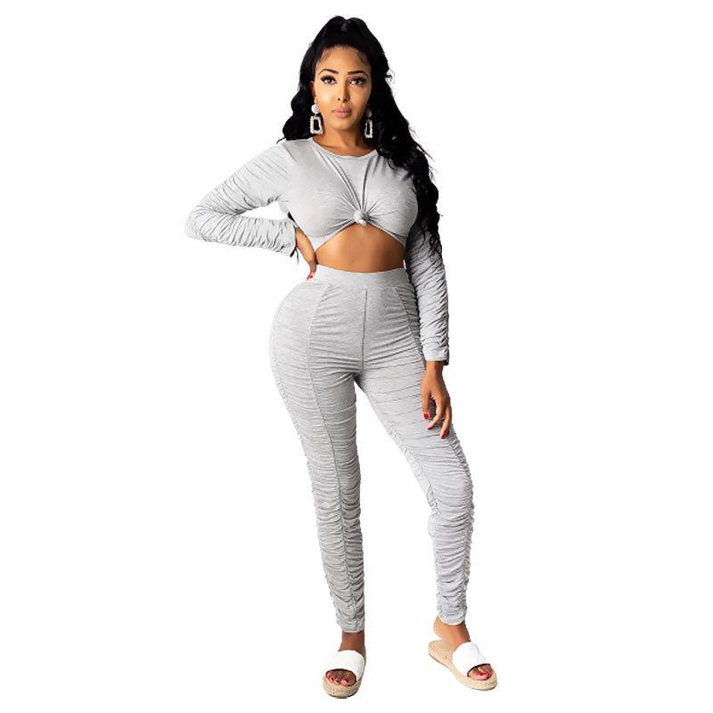 Manches longues encolure ras du cou Pantalon Stacked Vêtements Ensembles couleur unie femme deux pièces Pantalons Mode Set Casual