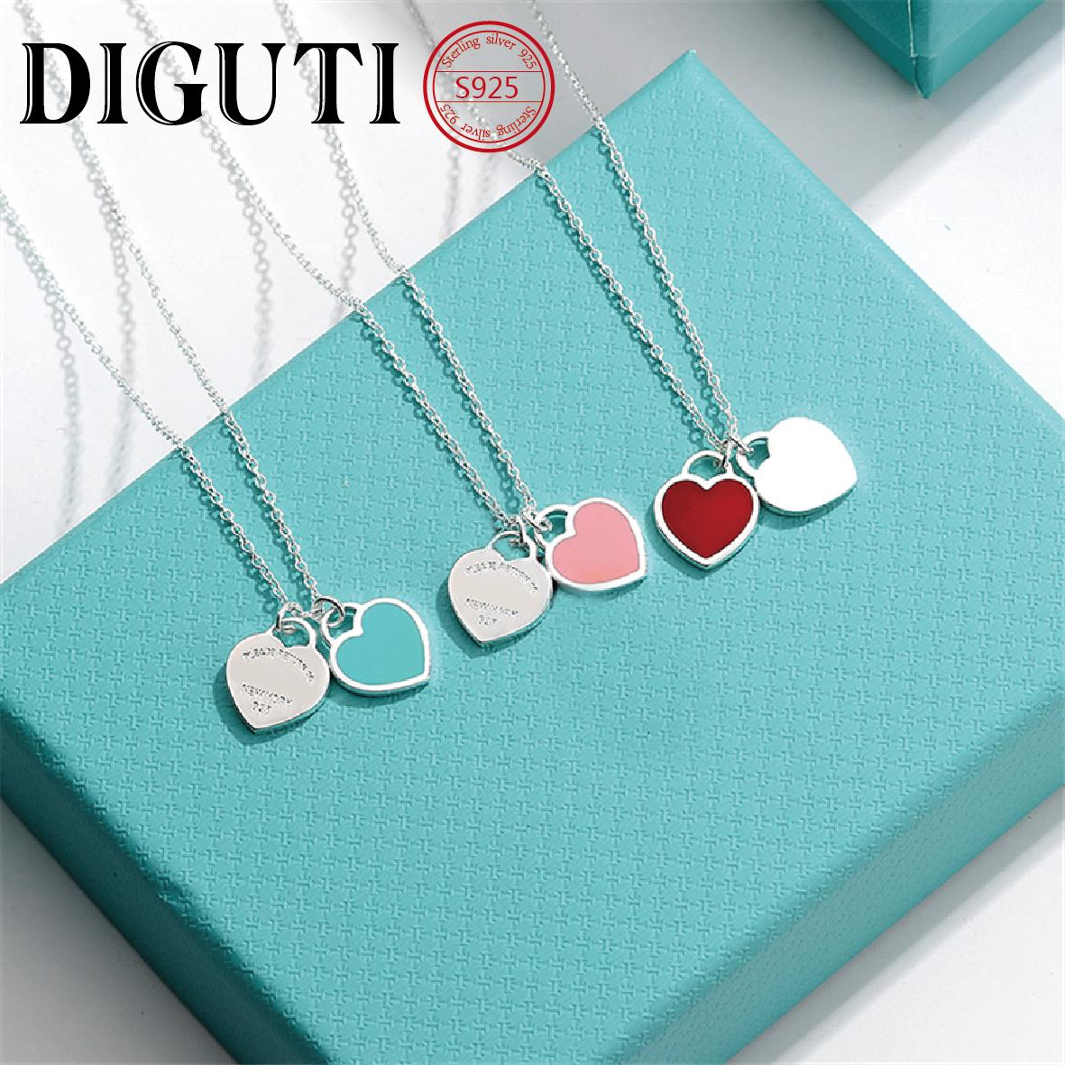 Tiff 925 sterling silver pendant necklace female jewelry high-end craftsmanship, with official logo Tiff blue heart necklace wholesale