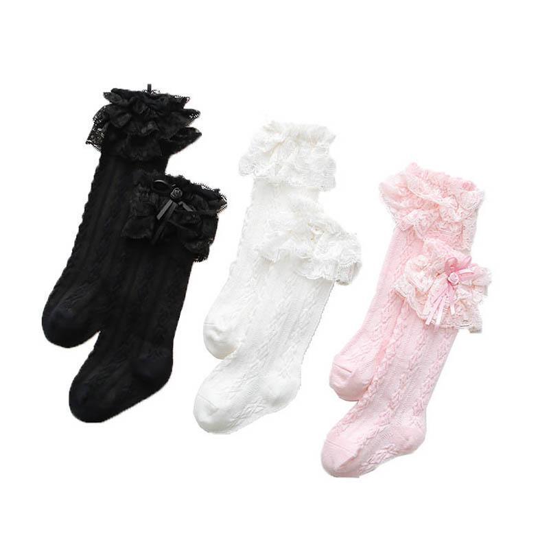 Tatlı Dantel Kızlar Çorap Prenses Örgü Diz Yüksek Çorap Uzun Çocuklar Çorap Çocuk Çorap Bebek Çorap Moda Kızlar Giysileri 0-12Y B3446