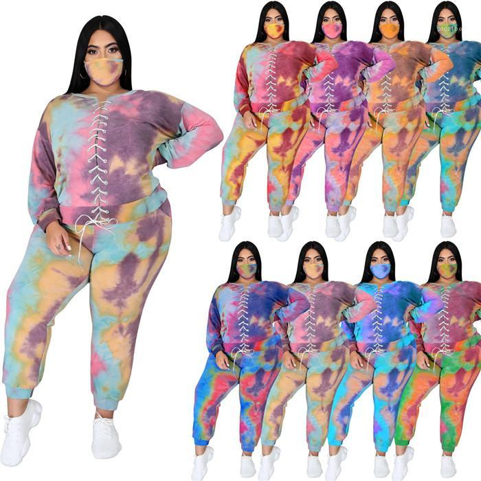 Two Piece Sets With Face Mask Tie Dye Bandage Long Sleeve Hoodies and Casual Pants Autumn Fashion Patchwork Women Clothing Plus Size Women