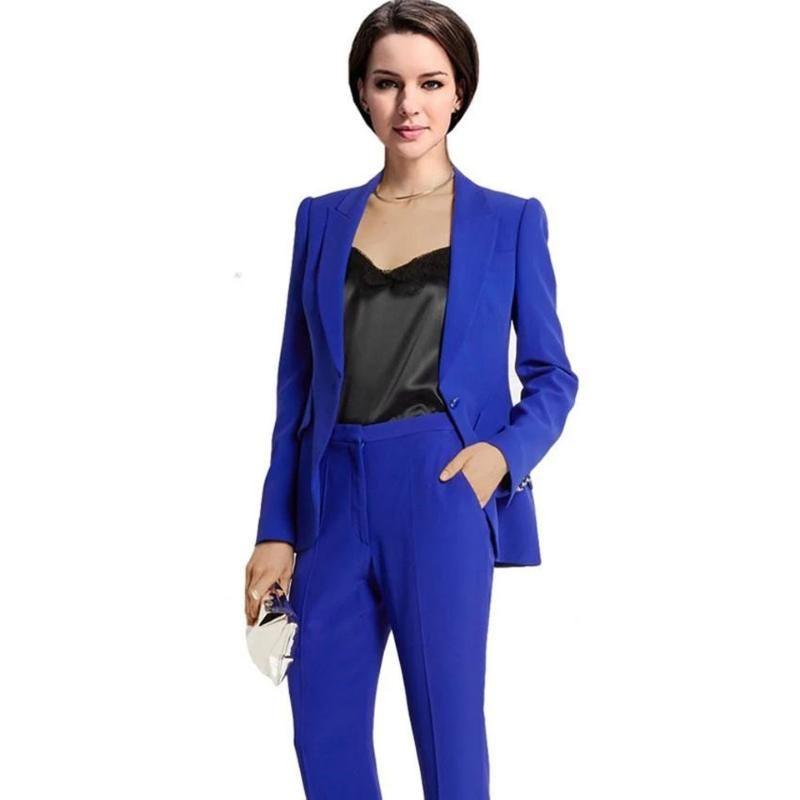 Personalizado Royal Blue Trabalho Bussiness Formal terno elegante Mulheres definido Blazers Calças Escritório ternos Senhoras Calças terninhos