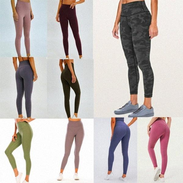 Лулу высокая талия 32 016 25 78 Женские спортивные штаны Yoga брюки гимнастики Леггинсы упругие фитнес-леди общие полные колготки работа Q5EB #