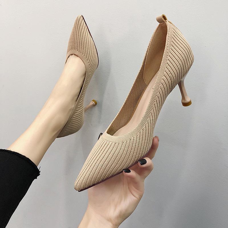 HKXN 2019 Mode 7 cm Strickung Frauen Pumps Sexy Fine Absatz High Heels Schuhe Point Tehe Party Hochzeit Pumpe Drop Shipping Y200702