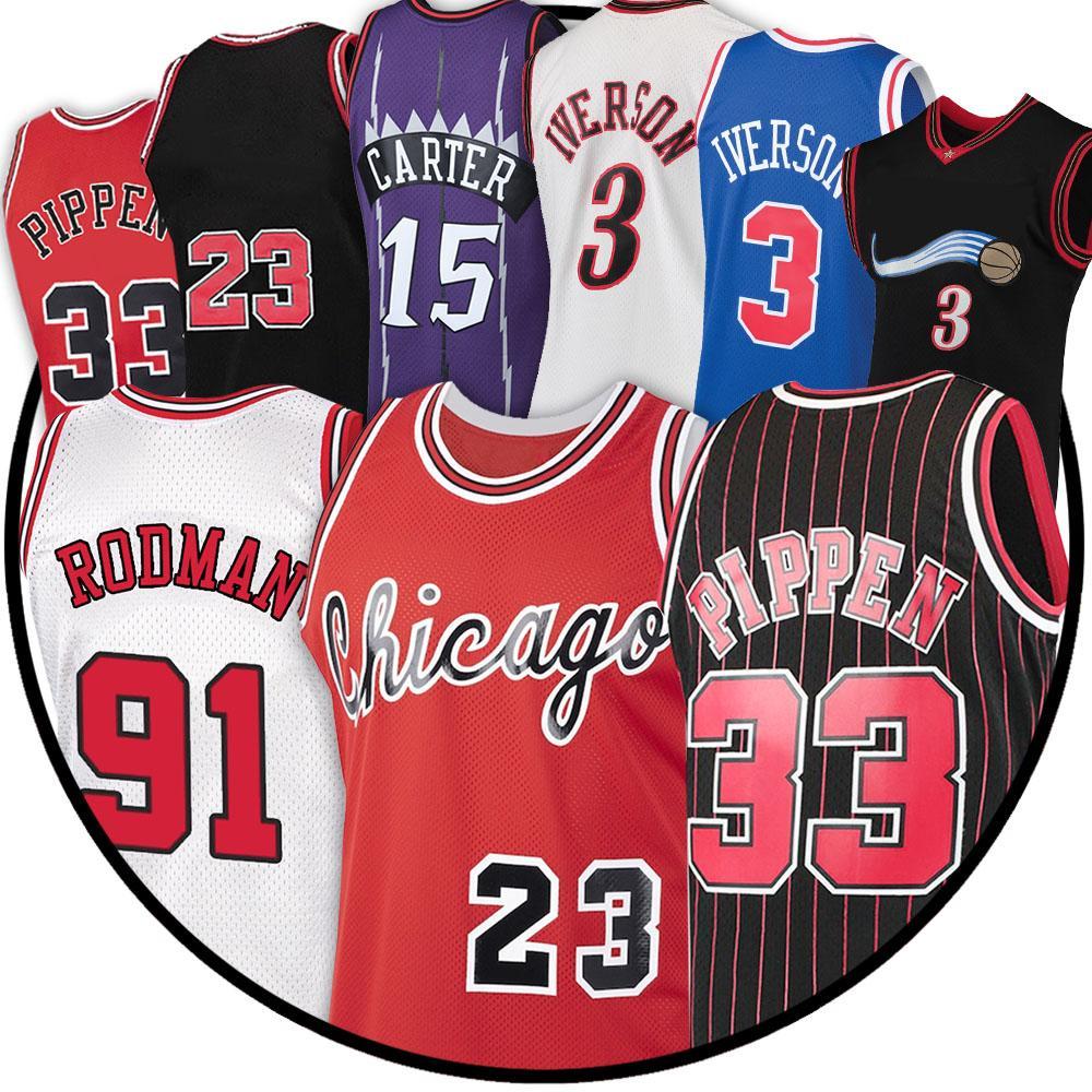33 Scottie 91 Dennis Pippen 23 MJ Jersey Rodman 15 Vince Iverson Carter 3 Allen NCAA Basketbol Formaları CXCZ