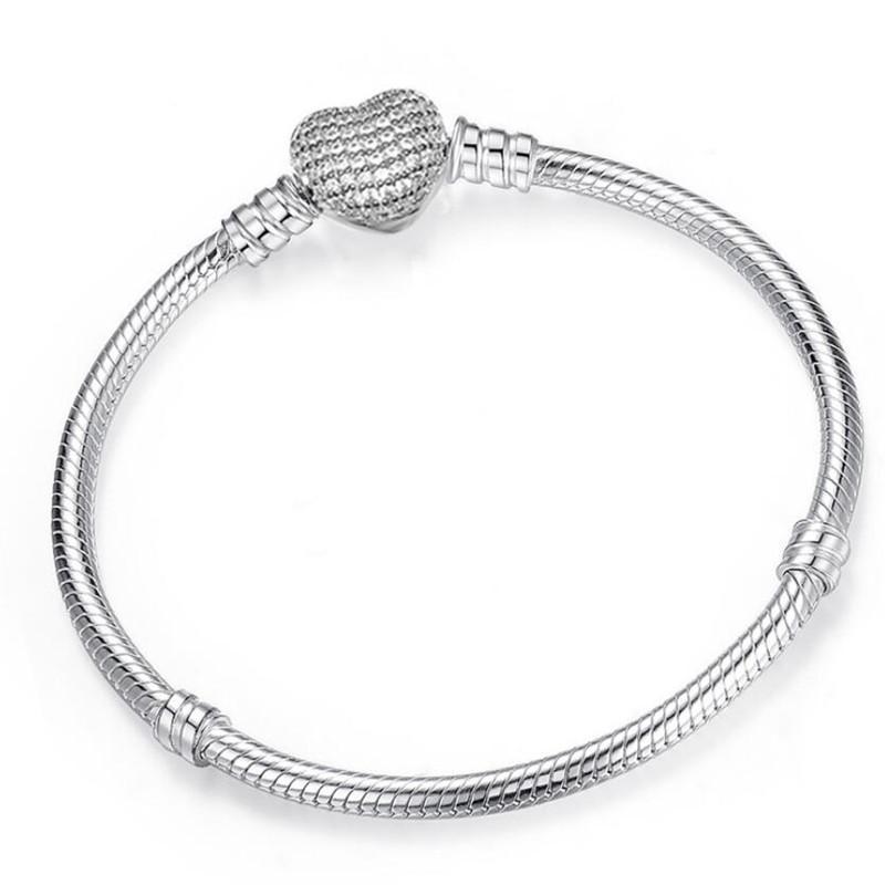 Brand New Роскошные ювелирные изделия Pure 925 стерлингового серебра Pave белый сапфир CZ Алмазный Бриллиантовые Сердце браслет PartyWomen Змея цепь браслет подарков