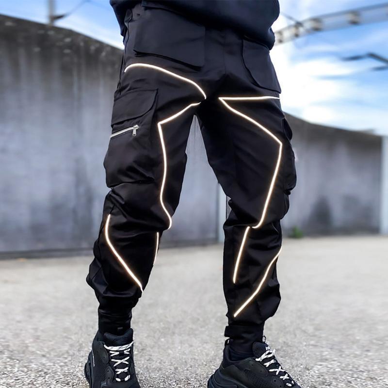 Pantalon de cargaison de jogging HIP-HOP MENS Fashion Mens Hommes Jogger Reflectif Brillant Casual Casual Homme Sportswear Pantalon Crayon lumineux
