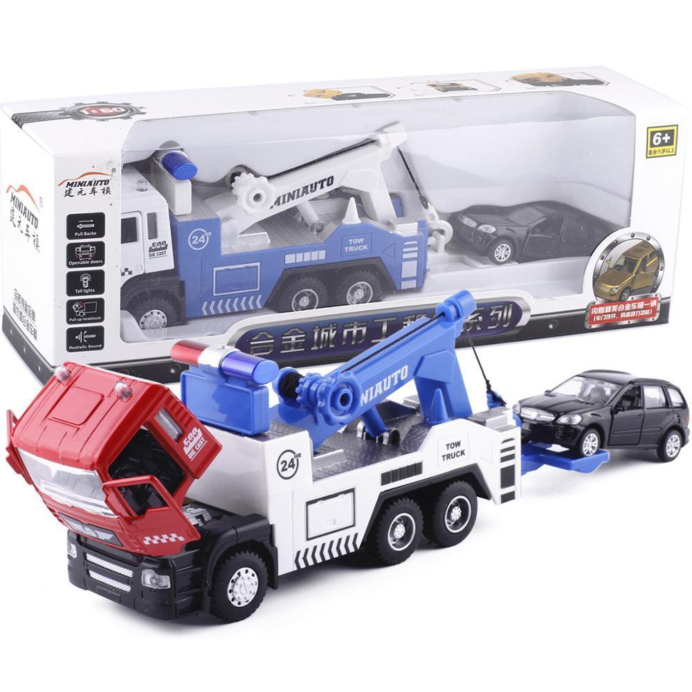 Ensemble de remorquage en alliage # 5009-1 (1 camion plus 1 voiture plus petite) Tête de coulée sous pression / lumières Sound Véhicules Véhicules Putille choix 210128