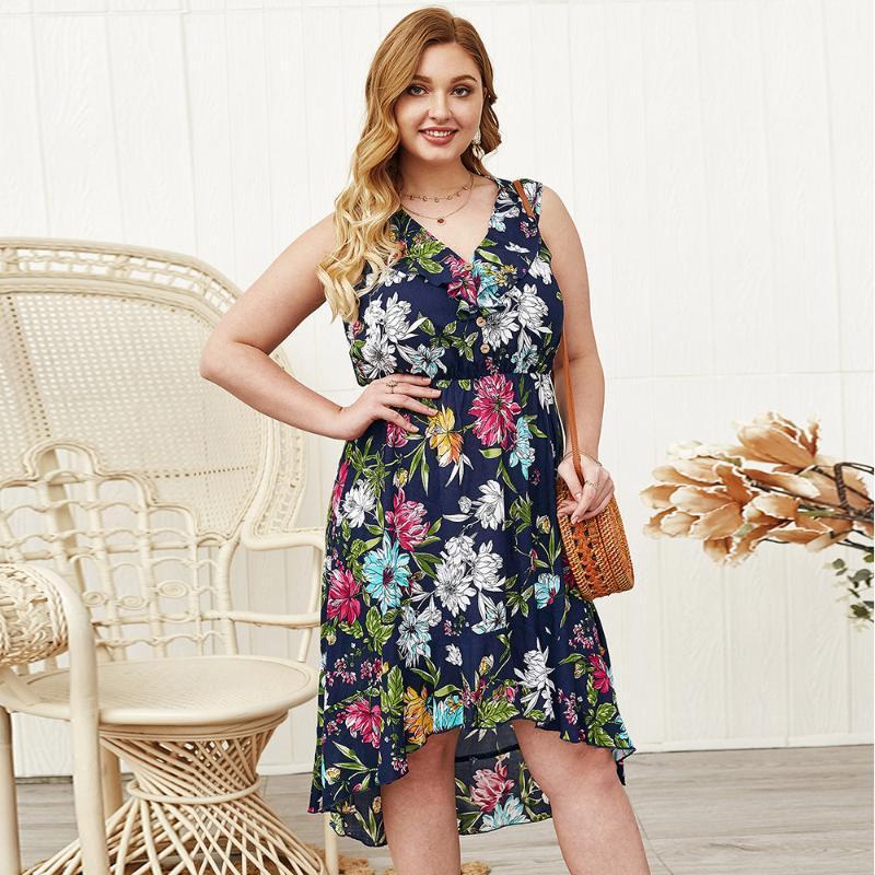 WHZHM vestido sin mangas de las mujeres calientes de la venta Femenina profundo escote en V Botones impreso floral ocasional de la flor Tamaño Beach Plus 3XL 4XL vestidos