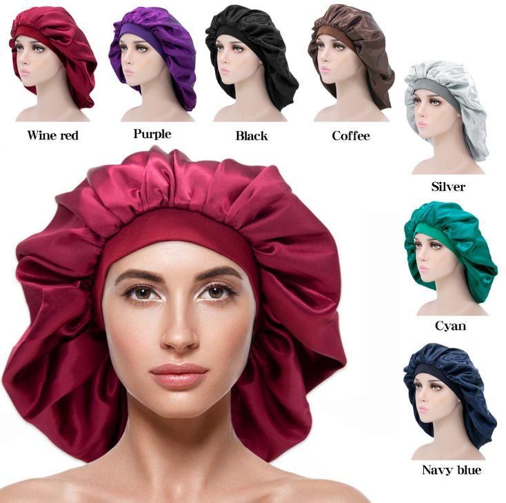 Hızlı kargo kadınlar ekstra geniş geniş kenarlı uyku kapaklar yüksek elastik şapkalar kemoterapi şapkalar polyester kubbe nightcap perm şapka