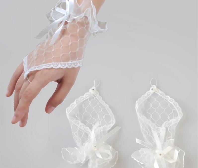 Luvas curto casamento Fingerless nupcial Luvas Luvas Mulheres noiva vermelho do laço Luva De Noiva casamento Accessorie