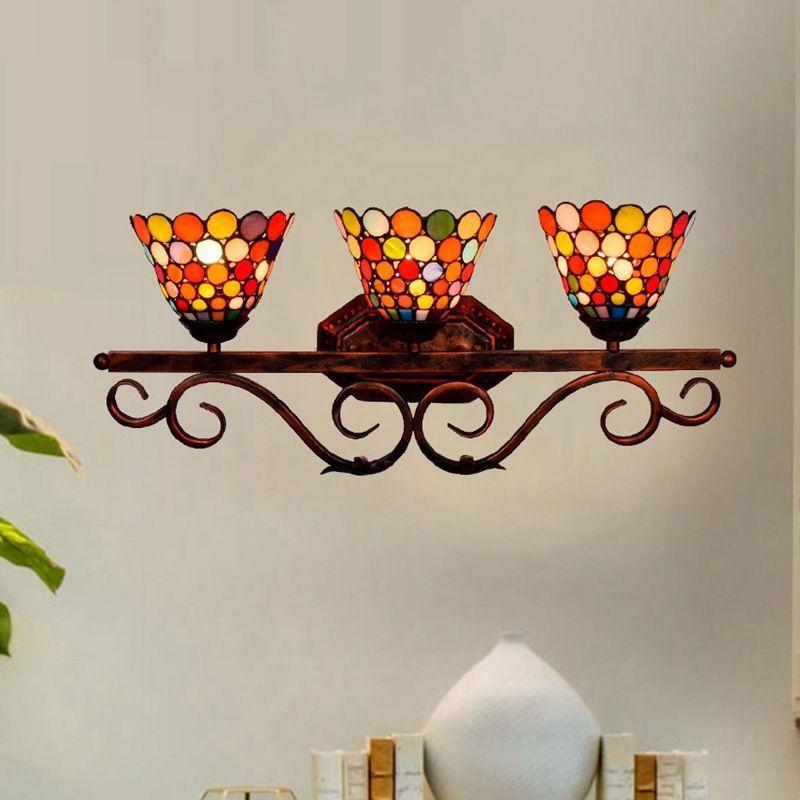 Vidro de arte vintage parede lâmpada de Tiffany luzes interiores aparelho de iluminação para Sala de Jantar Quarto de cabeceira parede Sconces