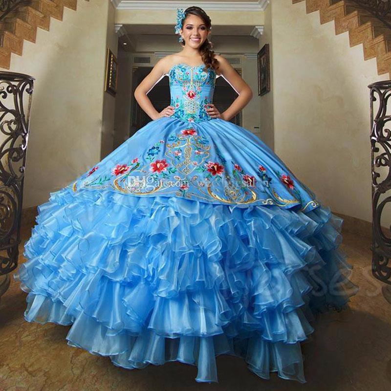 Stunning Blue Ball Gown Quinceanera ricamo Sweet 16 vestito a file di lunghezza del pavimento del Organza del corsetto Masquerade Gowns