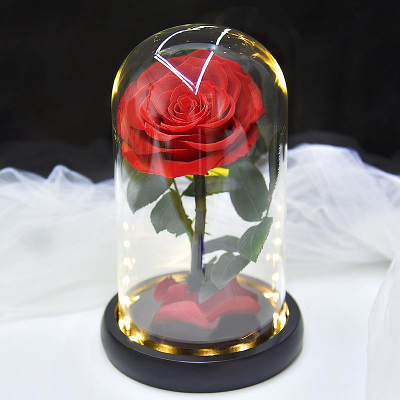 Fleur éternelle Rose dans la boîte de cadeau de couverture en verre Préservé Immorthal Flower Valentin Cadeau de mariage Bureau de bureau Home Desktop décoration