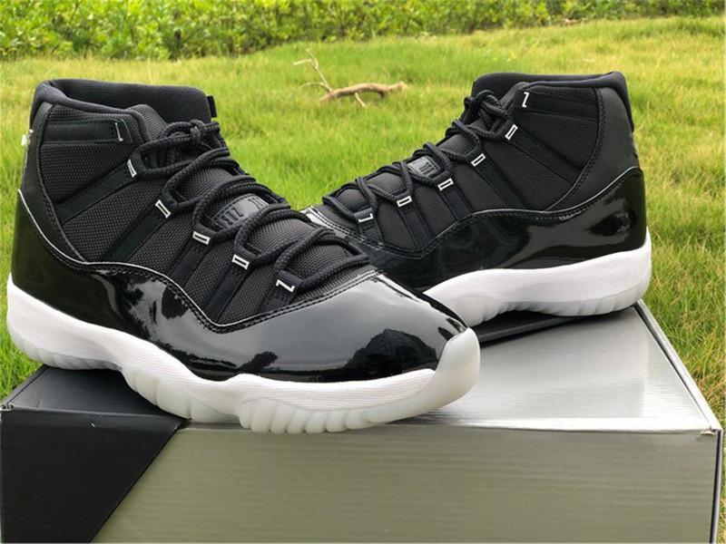 2020 الهواء الأصلي 11 ارتفاع 25th الذكرى اليوبيل الأسود واضح 11 ثانية المعدنية الفضة متعددة الألوان أحذية الرجال في الهواء الطلق حقيقي ألياف الكربون أحذية رياضية