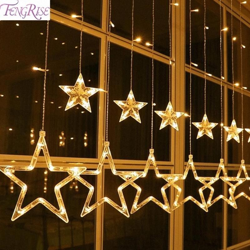 FENGRISE 12 Yıldız LED Pencere Perde Dize Işık DIY Düğün Dekorasyon Açık Garland doğum günü partisi Festivali Tatili Dekor BrvY #