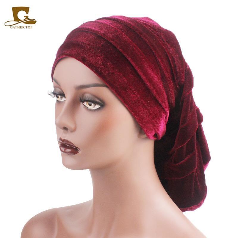 Nouveau Femmes Velvet Rasta Coiffe tête Wrap Chapeau turban africain Bonnet perte de cheveux Chemo Head Wrap Cap Slouchy Baggy Cap