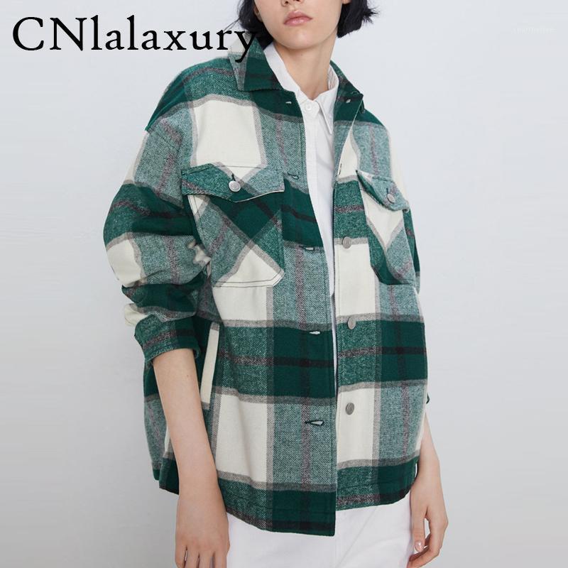 Vintage elegantes bolsillos de la chaqueta de cuadros de gran tamaño Mujeres 2020 Moda Collar de solapa manga larga Outerwear Flow Outerwear Chic Tops1