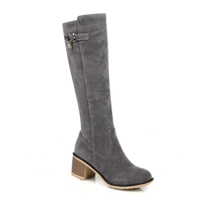Luxury designer European and American beaded buckle women's high boots square high-heeled shoes winter
