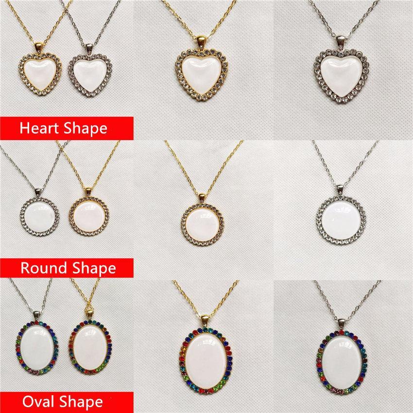 ¡Estilo de moda! Collar de sublimación transferencia de calor cristal colgante personalizado en blanco collar de metal de valentín joyería de regalo de valentín presente a12