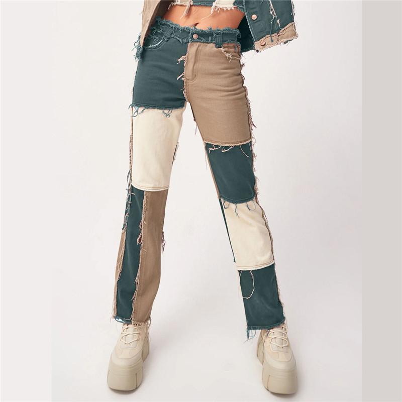 Patchwork Jeans Frau gerade Bein Jahrgang zerrissene Jeans Baggy Cargo Pants Frauen plus Größen-Denim-Hosen Quaste Kleidung Hohe Qualität