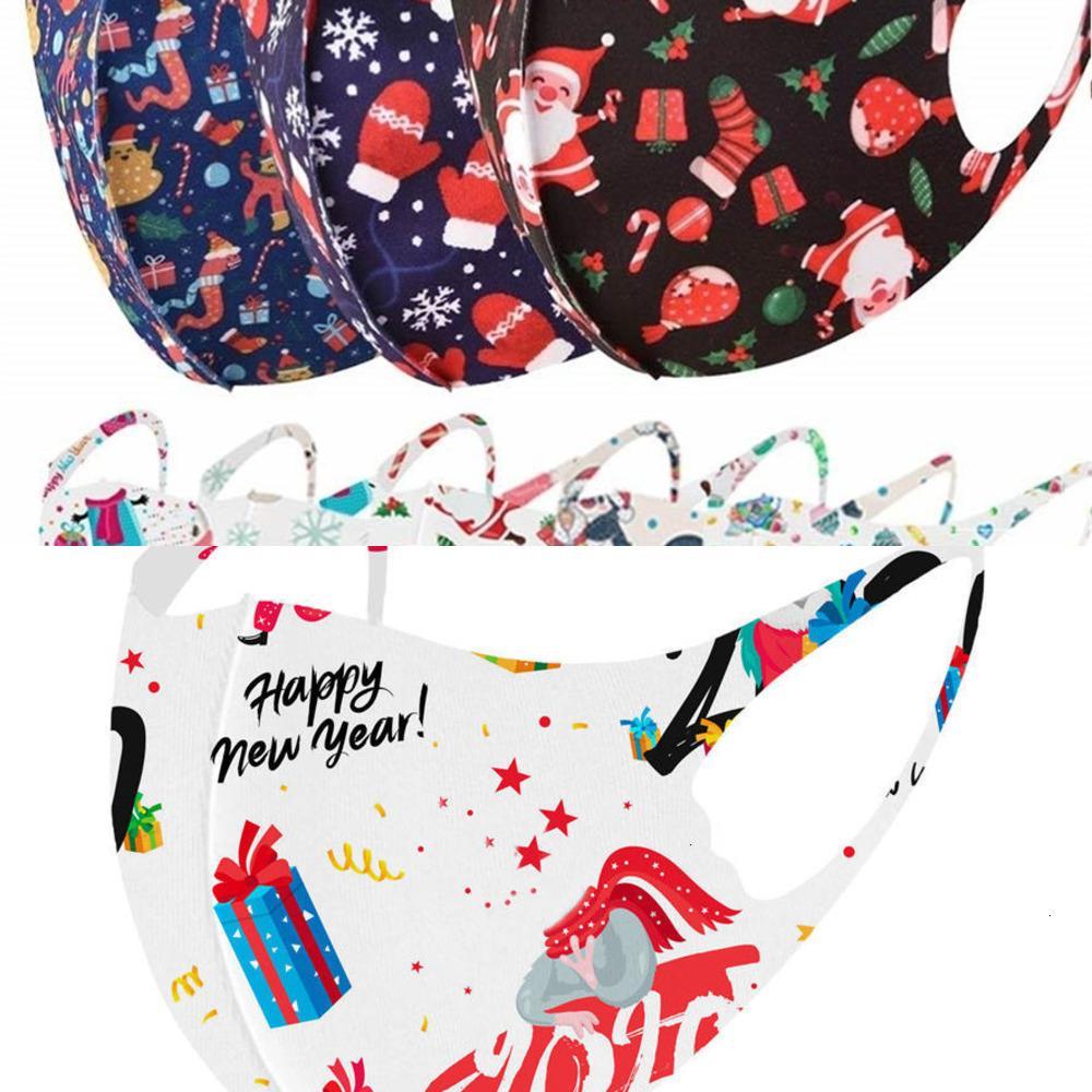 Factory6NIBPrinted Factoryx5UGSANTA Maskesi İpek Noel Tasarımcısı Kardan Adam Buz Yüz Maskeleri Erkek Kadın Çocuklar Siyah Kırmızı 3D Toz