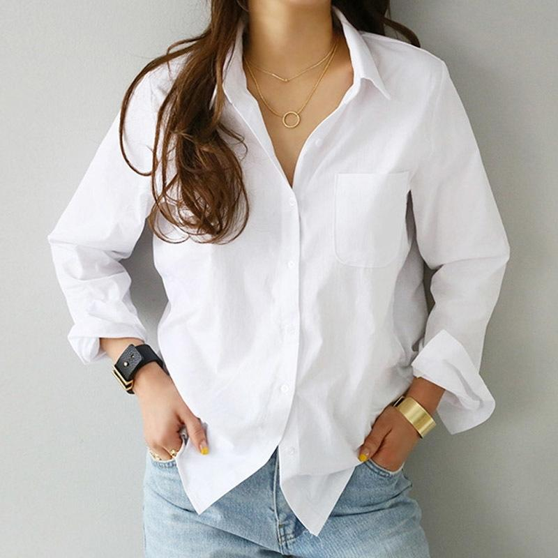 Bahar Bir Cep Kadın Beyaz Gömlek Kadın Bluz Tops Uzun Kollu Rahat Turn-down Yaka OL Stil Kadınlar Gevşek Bluzlar Y200103