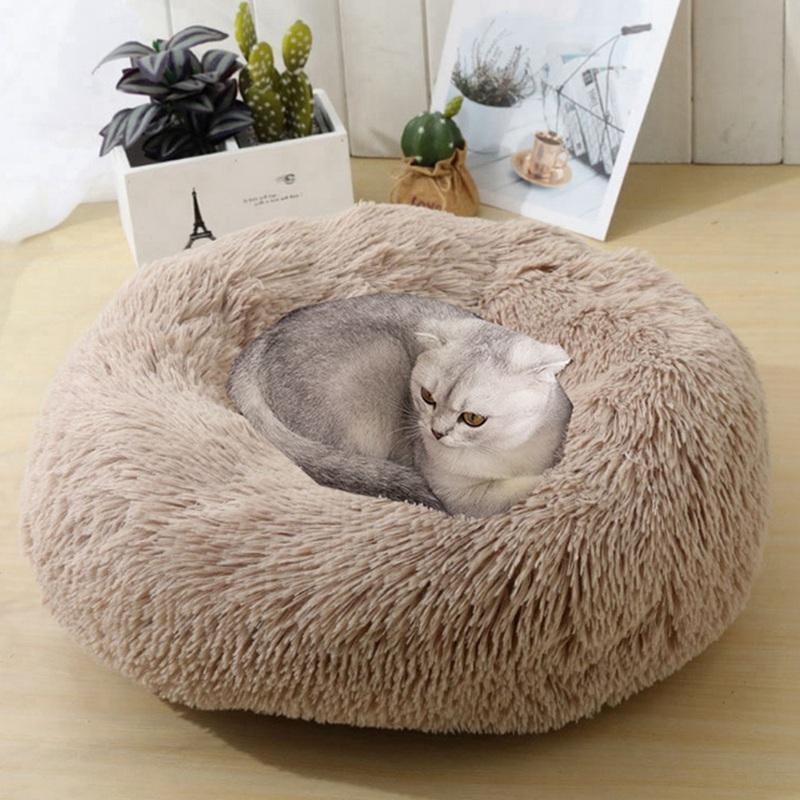 Круглый Плюшевые Cat Bed Дом Мягкий коралл Velvet Nest Pet спальный коврик Зимний щенок Питомник Cat Подушка Переносные Pad Животные принадлежности