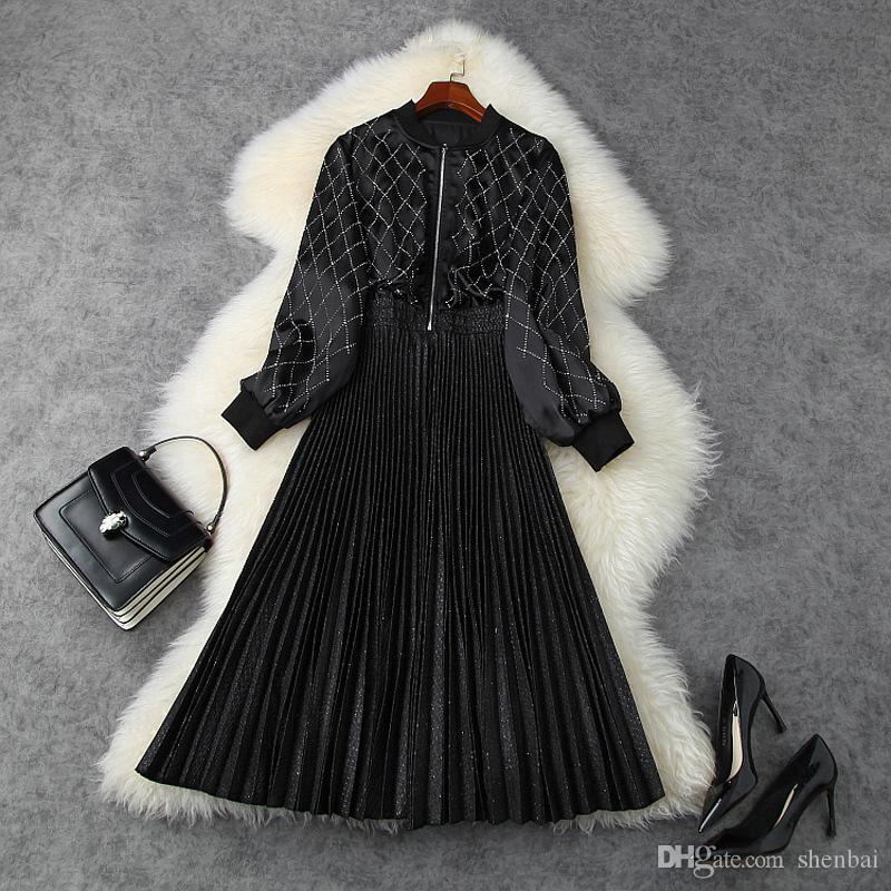 2020 Autunno Autunno Manica lunga Stand Collare Black Black Pure Color Velvet Paneling Pieghettato Pieghettato Abito Mid-Vifalful Elegante Abiti Casual LSP15T11276