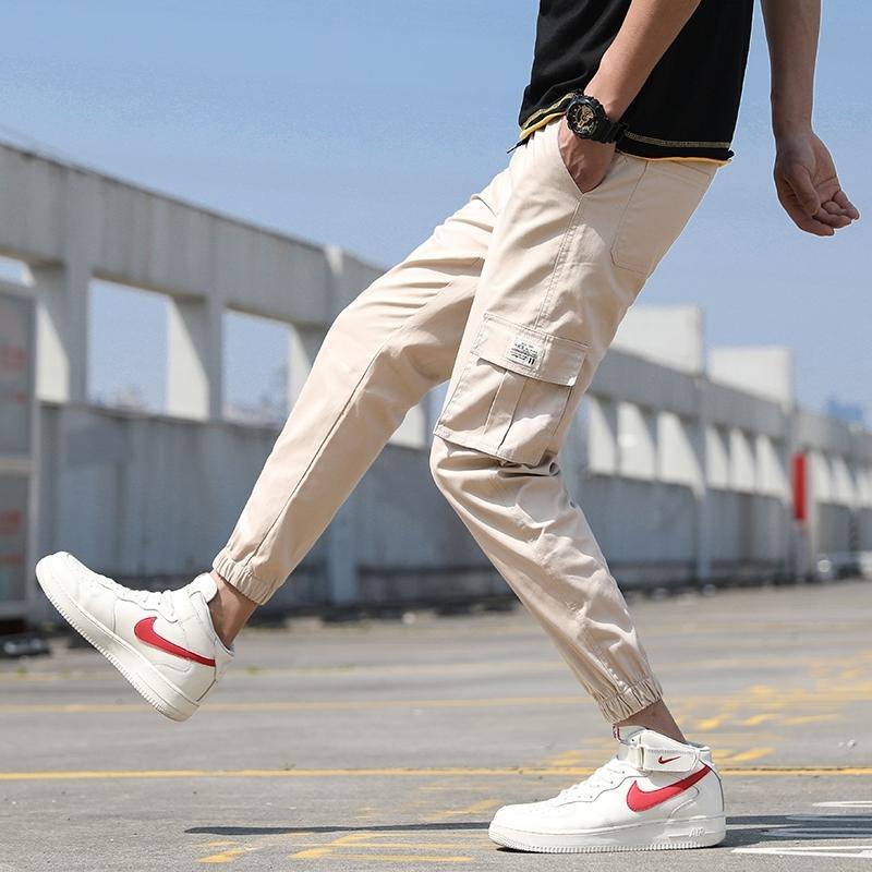 Erkek Kargo Pantolon Pamuk Rahat Katı Kalem Pantolon İpli Siyah Gri Joggers Moda Casual Streetwear Pantolon Binhiiro 201118