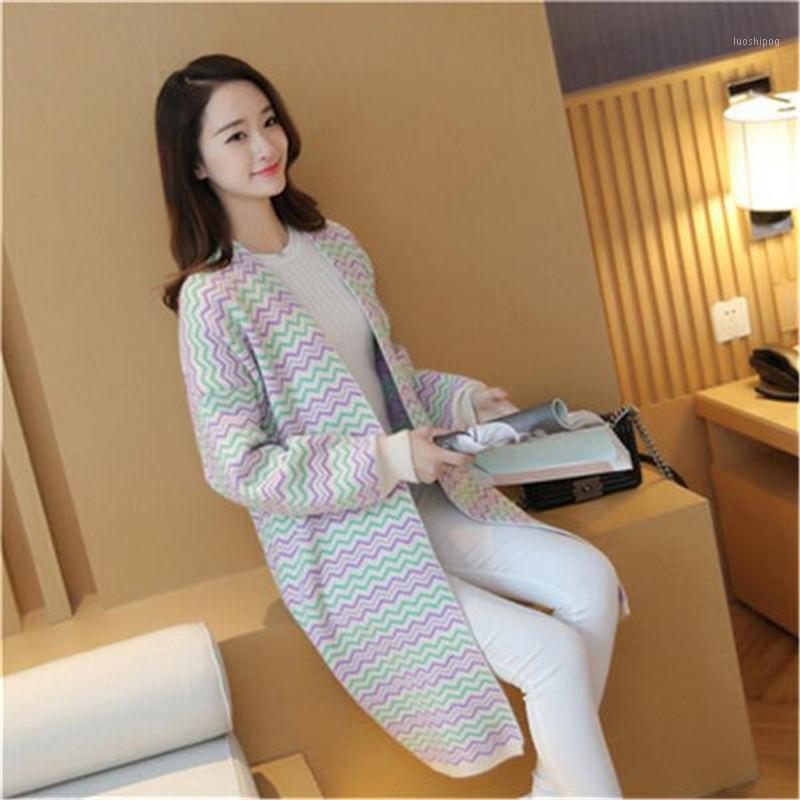 Suéteres para mujer al por mayor- Mujeres O-cuello suéter primavera otoño suelto sobredimensionado punto de punto cárdigan raya largo reloj de punto