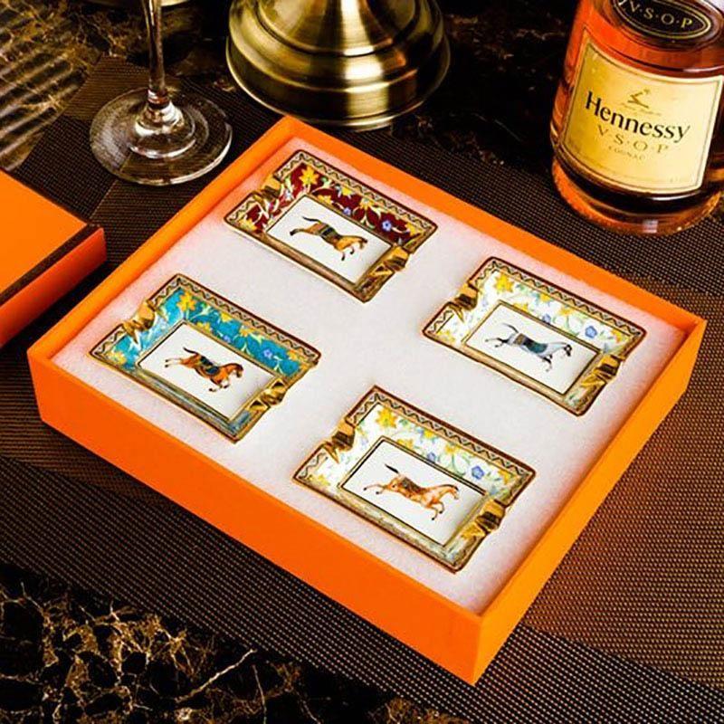 LUXURYS CENH BANDEJA Portátil Cerámica Cenicero grande Cenicero Accesorios de oro Hogar Fumar Pocket Bandeja de cigarrillos Mesa de oficina Decoración de la mesa