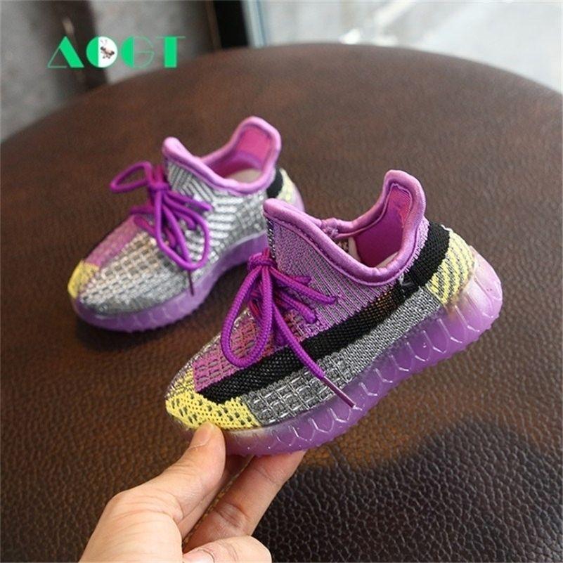 AOGT Spring New Baby Chaussures tricotées Toddler Garçon Boy Guitière Chaussures Soft Confortable Baskets Enfant Child Chaussures Enfant 201222