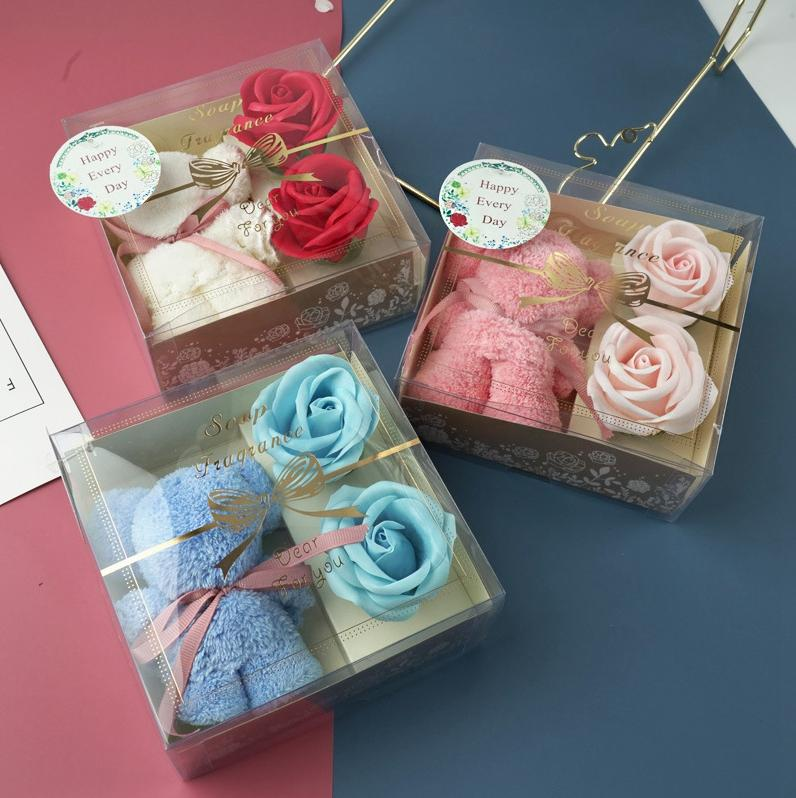 Rose Bear Valentines Day Gifts Bear Towel Simulation Flower Gift Boxes Soap Flowers Valentines Day Party Favor GWD4205