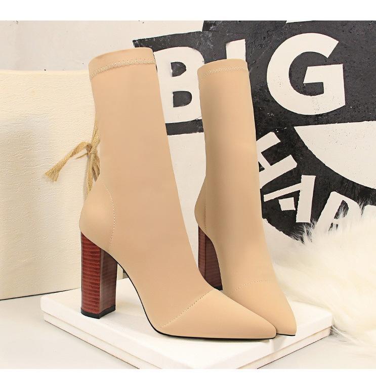 Sonbahar Kış Ortası Buzağı Boots 2020 Yeni Stretch Çorap Çizme Chunky Blok Topuklar Yüksek Topuklar Fetiş Seksi Topuklu Boot İpek Ayakkabı Kadınlar Önyükleme