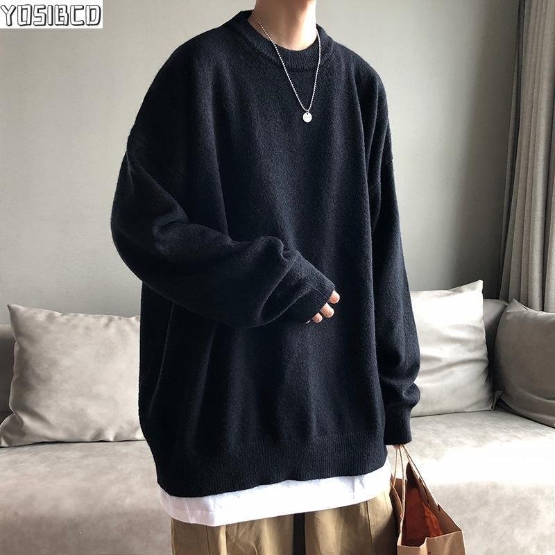Suéteres de gran tamaño para hombre Moda otoño de suéter de punto sólido para hombre de manga llena PUSEOVE Ropa 2021 Hombres