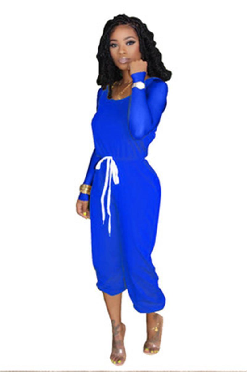 Sólido Fatos Cor Fashion Trend Mulheres manga comprida em torno do pescoço Tops cordão Calças ternos do desenhador Outono Feminino novo Slim Sets Casual