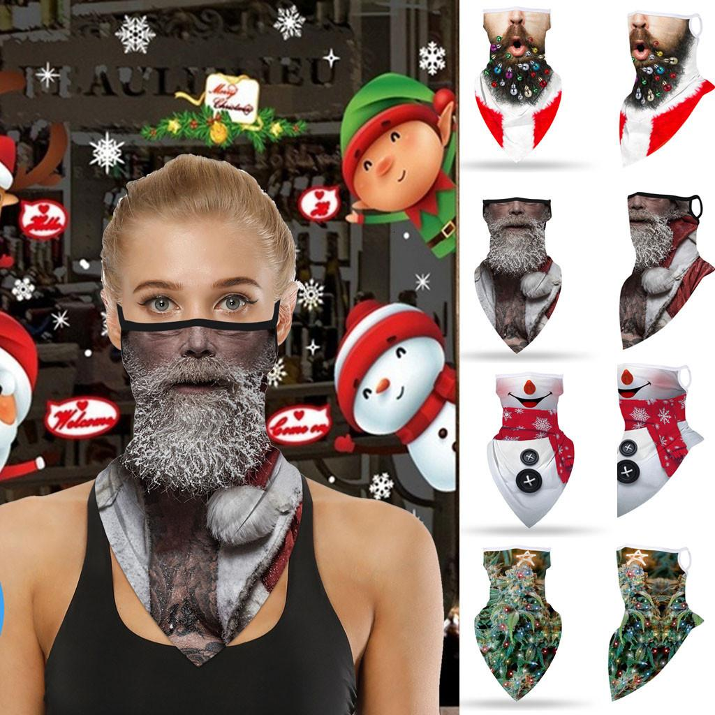 1 шт. Рождественская печать Бандана Бесшовные ушные маски спортивные шарф шеи трубки лица езда маска защиты шеи ветрозащитный бандана маске