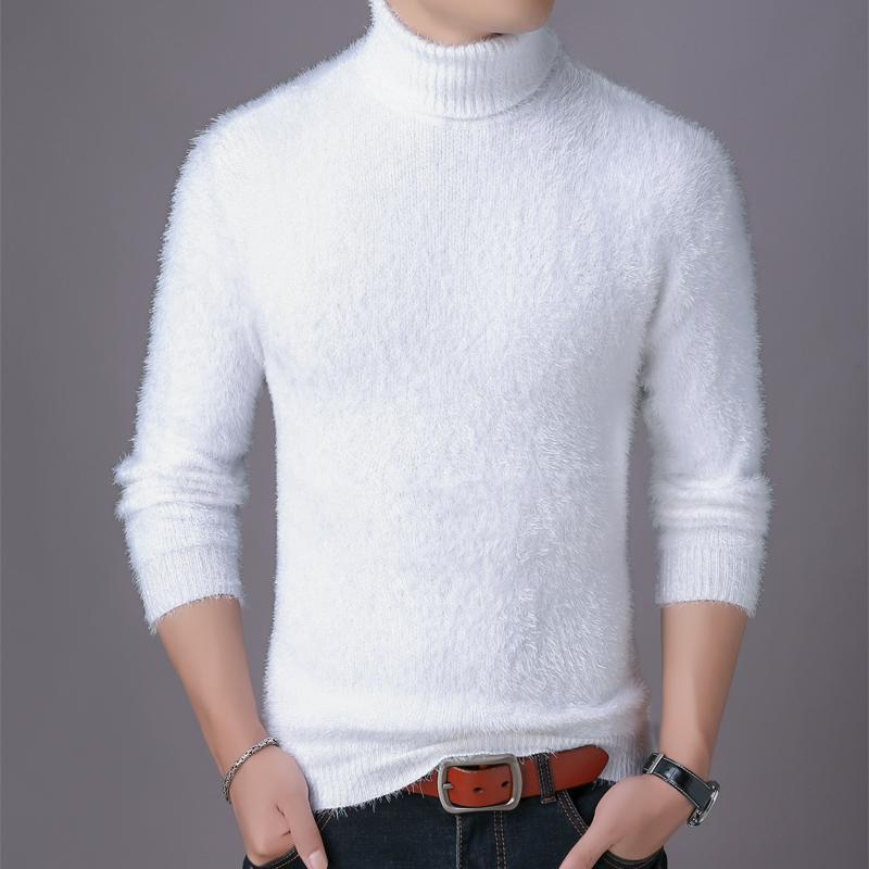 White Men Winter New Fluffy Turtleneck Pullover Sweater Stretch Fashion Sweaters 5 Color Choice Top